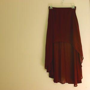 Burgundy High Low Skirt